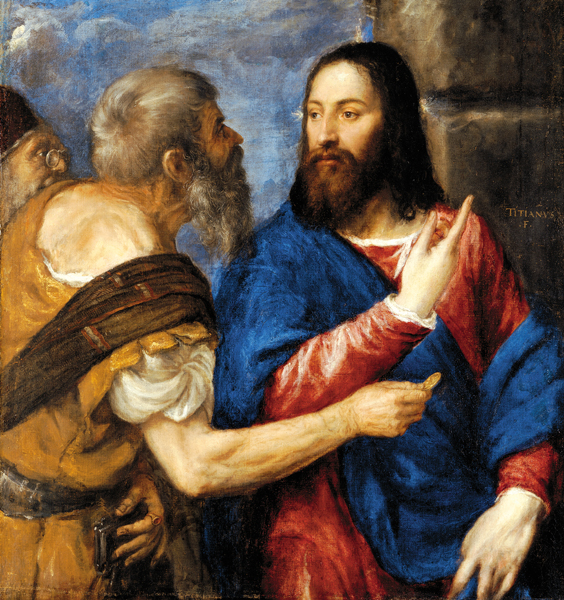 """Jesus and Saint Peter, from """"The Tribute Money""""(ca. 1560-8) by Titian (source, CC BY-NC-ND 4.0)"""