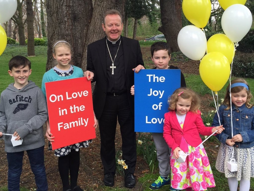 Attending Archbishop's House in Drumcondra, Dublin, to welcome the publication by Pope Francis of his second Apostolic Exhortation Amoris Laetitia (The Joy of Love On Love in the Family) are Tom Long, Helena Kelly, Archbishop Eamon Martin, Cathal Tobin, and Maeve and Tess Liffey.