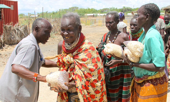 Women receive emergency food at distribution centre funded by Trócaire near the centre of Lodwar town in northern Kenya.