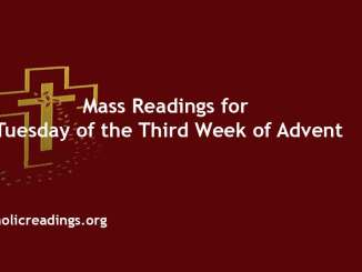 Catholic Mass Readings for Tuesday of the Third Week of Advent