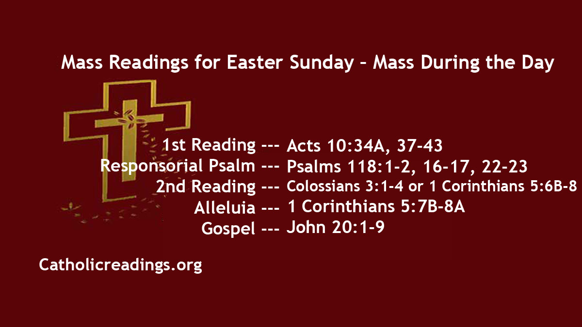 Christmas Eve Mass Readings 2020 Easter Sunday Readings 2021   April 4 2021, Mass During the Day