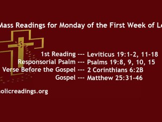 Monday of the First Week of Lent