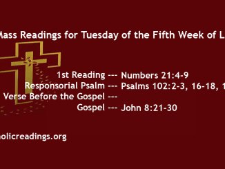 Tuesday of the Fifth Week of Lent