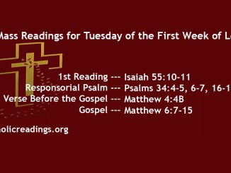 Tuesday of the First Week of Lent