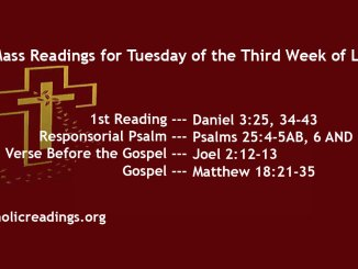 Tuesday of the Third Week of Lent