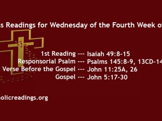 Wednesday of the Fourth Week of Lent