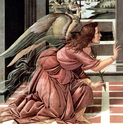 detail from 'The Annunciation', Sandro Botticelli, 1490, Galleria degli Uffizi, Florence, Italy; swiped from Wikimedia Commons