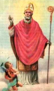 detail of an antique Italian holy card of Saint Agapius of Novara; swiped with permission from Santini Imagini