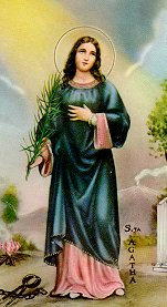 Saint Agatha holy card, artist unknown