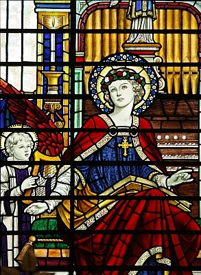 detail of a stained glass window of Saint Cecilia, church of Saint Sepulchre, City of London, England; swiped with permission from the flickr account of Father Lawrence Lew, OP