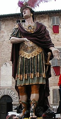 statue of Saint Crescentinus being paraded in Urbino, Italy; photographed by Matt Rowe, November 2002; swiped off the Wikipedia web site