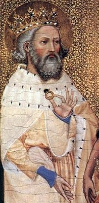 image of Saint Edward the Confessor, a detail from 'Richard II of England with his patron saints' from the Wilton Diptych, 1395, tempera on oak panel, National Gallery, London, England