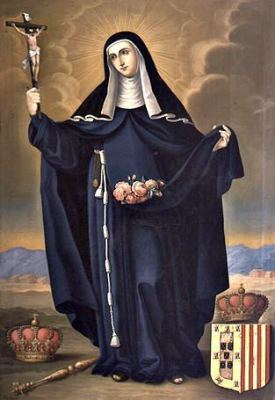 detail of the painting 'Santa Isabel Reina de Portugal', by José Gil de Castro, 1820, Museo Colonial de San Francisco, Santiago, Chile