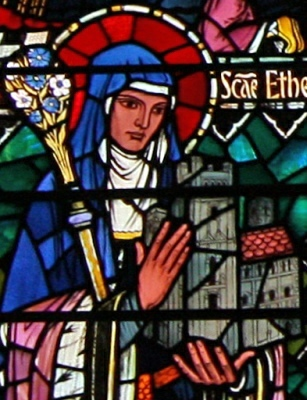 stained glass window of Saint Etheldreda by Edward Nuttgens, east side, Saint Etheldreda's Catholic church, City of London, England; swiped with permission from the flickr account of Father Lawrence Lew, OP