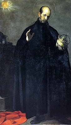 detail of a portrait of San Francisco de Borja, Alonso Cano, 1624, oil on canvas; swiped from Wikimedia Commons