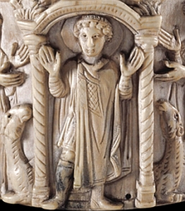 detail of an ivory pyxis carved with an image of Saint Menas, 6th century, Alexandria Egypt; swiped off the British Museum web site