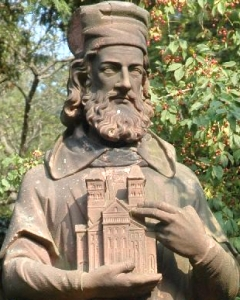 detail of a statue of Saint Pirmin, Murbach Abbey, Alsace; photographed by Alex Anlicker on 3 September 2005; swiped off the Wikipedia web site