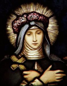 Saint Rose of Lima wearing a crown of flowers