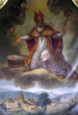 detail of a painting of Saint Brice, 1773, artist unknown; church of Saint-Médard, Boersch, Bas-Rhine, Alsace, France; photographed in 2014 by Ralph Hammann; swiped from Wikimedia Commons