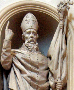 detail of a photograph of a statue of Saint Bonfilius, sculptor unknown; Cathedral of San Feliciano, Foligno, Italy; photographed on 2 May 2008 by Georges Jansoone; swiped off the Wikipedia web site