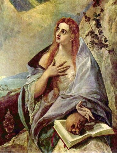 detail from the oil painting 'The Penitent Mary Magdalene' by El Greco, c.1577; Museum of Fine Arts, Budapest, Hungary; swiped from Wikimedia Commons