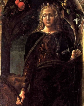 detail from the painting 'Saint Euphemia' by Andrea Mantegna, 1454