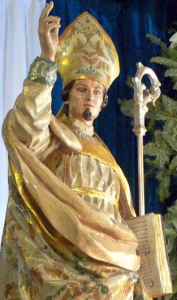 photograph of an 18th century statue of Saint Fulgentius of Ecija in a church in Cartagena, Spain, by Francisco Salzillo; swiped off the Wikipedia web site