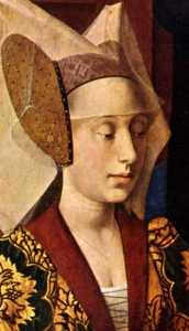 detail from the painting 'The Legend of Saint Eligius and Saint Godeberta' by Petrus Christi, 1449, Metropolitan Museum of Art, New York, New York; swiped from Wikimedia Commons