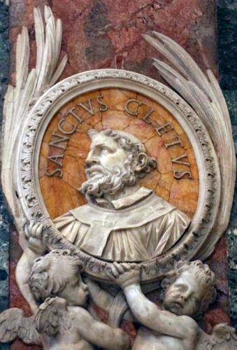 bas relief statue of Pope Saint Cletus, date and artist unknown; Saint Peter's Basilica, Rome, Italy