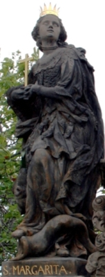 statue of Saint Margaret of Scotland on the Charles Bridge, Prague, Czech Republic; photographed July 2007 by Karelj; swiped off Wikipedia