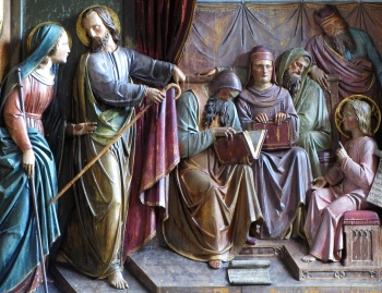 detail of a bas-relief of 'Jesus Among the Doctors', date and artist unknown; high altar of Saint Joseph, Augustinian Church, Ribeauville, Alsace, Haut-Rhin, France; photographed in 2014 by Ralph Hammann; swiped from Wikimedia Commons