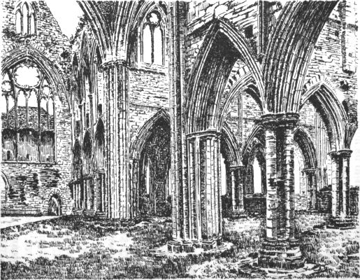 Tintern abbey: north transept and presbytery, showing doorways to dorter and sacristy