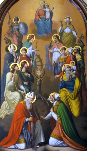 detail of the painting of the Fourteen Holy Helpers; Caroline Sorg, 1886; Chapel of Saint-Denis, Wolxheim, Alsace, Bas-Rhin, France; photographed on 5 August 2011 by Rh-67; swiped from Wikimedia Commons