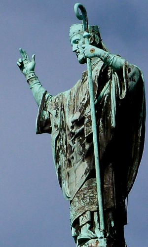 statue of Saint Martin on Tours on the dome of the Basilica of Saint Martin, date and artist unknown; photographed on 15 September 2012 by ZohaStel; swiped from Wikimedia Commons