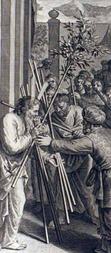 detail of an illustration of Aaron's Rod Budding as described in Numbers 17:8-10; from the 1728 Figures de la Bible, illustrated by Gerard Hoet and others, published by P. de Hondt in The Hague in 1728; image courtesy Bizzell Bible Collection, University of Oklahoma Libraries; swiped from Wikimedia Commons