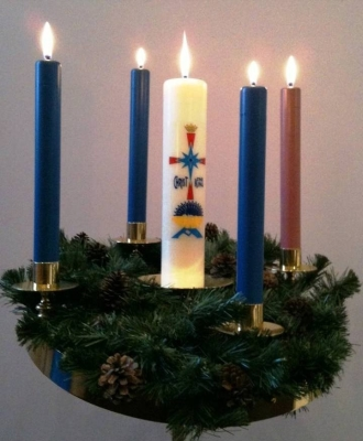 Advent Wreath; swiped from Wikimedia Commons