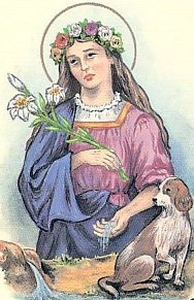 detail of an antique Italian holy card of Blessed Agnes of Bagno di Romagna by Bertoni, date unknown; swiped from Santi e Beati