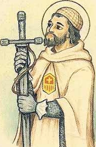 detail of an Italian holy card of Blessed Bernard de Figuerols by Bertoni, date unknown; swiped from Santi e Beati