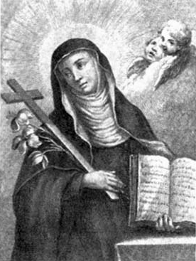 detail from a Blessed Bertha de'Alberti of Cavriglia holy card; swiped from Santi e Beati