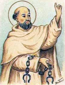 detail of an Italian holy card of Blessed Domenico of Perpignano by Bertoni, date unknown; swiped from Santi e Beati