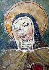 photograph of a detail of a fresco of Blessed Philippa Mareri, 13th century, Borgo San Pietro; now in a private collection; image swiped off Wikimedia Commons