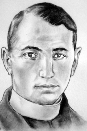 detail of an illustration of Blessed Fortunato Velasco Tobar, date and artist unknown; swiped from Santi e Beati