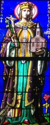 photograph of a stained glass window of Beata François d'Amboise, 1878, artist unknown, Cathedral of Saint Peter, Morbihan, France; taken on 28 December 2012 by Fab5669; swiped off Wikipedia