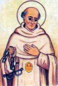 detial of an Italian holy card of Blessed Giovanni de Barthulono by Bertoni; swiped from Santi e Beati