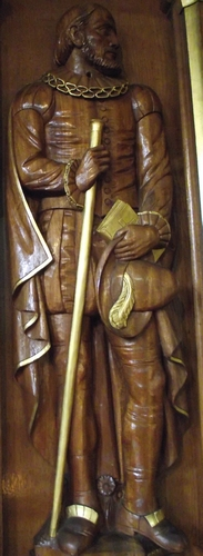 statue of Blessed James Bell, date and artist unknown; Saint Werburgh's Church, Birkenhead, England; photographed on 12 October 2015 by Kitgehrke; swiped from Wikipedia Commons