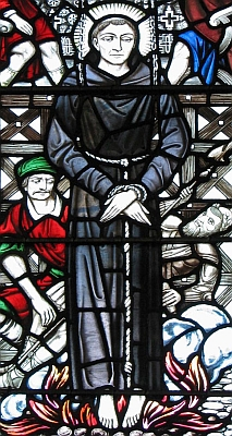 stained glass window of Blessed John Forest; swiped with permission from the flickr account of Father Lawrence Lew, OP