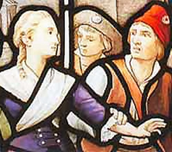 detail of a stained glass window depicting the arrest of Blessed Louise Déan de Luigné; c.1910 by Jean Clamens; church of Saint-Louis-du-Champ-des-Martyrs, Avrillé, France; swiped from Wikimedia Commons