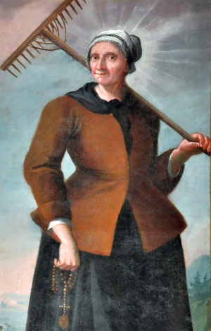 detail of the oil painting 'Saint Mary, wife of Saint Isidore the Laborer'; date and artist unknown; parish church of Holy Nikolaus, Preitenegg, Wolfsberg, Carinthia, Austria; photographed on 23 October 2010 by Johann Jaritz; swiped from Wikimedia Commons