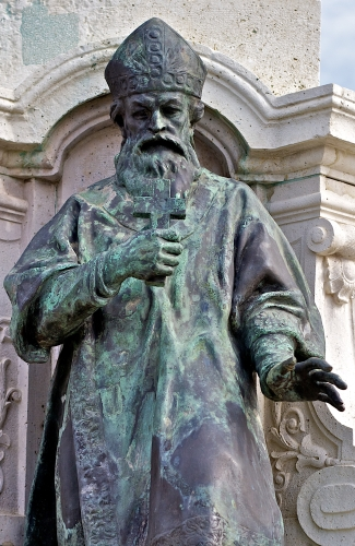detail of a statue of Blessed Maurus of Pannonhalma, date and artist unknown; Székesfehérvár, Hungary; photographed by Tony Bowden on 13 March 2011; swiped from Wikimedia Commons