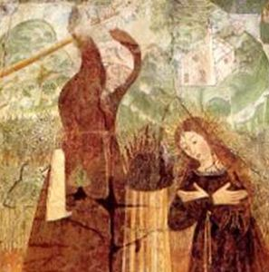 detail of a painting of the martyrdom of Blessed Panacea de'Muzzi of Quarona, artist unknown; from the church of San Giovanni al Monte, Quarona, Italy; swiped off a web site devoted to the church